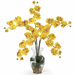 "31"" Phalaenopsis Liquid Illusion Silk Flower Arrangement - Yellow"