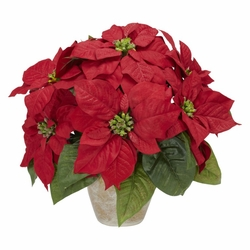 Poinsettia w/Ceramic Vase Silk Flower Arrangement