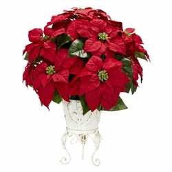Poinsettia w/Metal Planter Silk Flower Arrangement