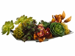 "6"" Artificial Protea Flower, Cymbidium Orchid and Succulent Centerpiece"