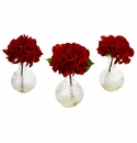 Red Hydrangea w/Glass Vase (Set of 3)