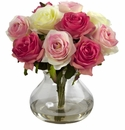 "11"" Silk Rose Arrangement in Vase - Assorted Pastels"