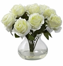 "11"" Silk Rose Arrangement in Vase - White"