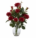 "22"" Red Rose Bush w/Vase Silk Flower Arrangement"