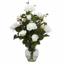 "22"" Rose Bush w/Vase White Silk Flower Arrangement"
