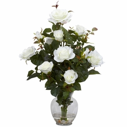 Rose Bush w/Vase Silk Flower Arrangement