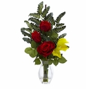"21"" Red Rose & Yellow Calla Silk Flower Arrangement"
