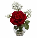 Rose & Gypso w/Fluted Vase Silk Flower Arrangement