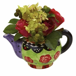 Rose & Hydrangea in Decorative Teapot Vase