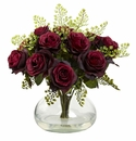 "14"" Rose & Maiden Hair Arrangement in Glass Vase - Burgundy"