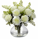 "14"" Rose & Maiden Hair Arrangement in Glass Vase - White"