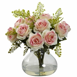 "14"" Rose & Maiden Hair Arrangement in Glass Vase - Light Pink"