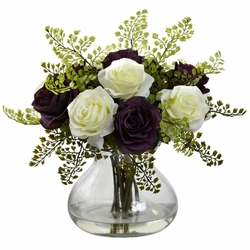 "14"" Rose & Maiden Hair Arrangement in Glass Vase - Purple/White"