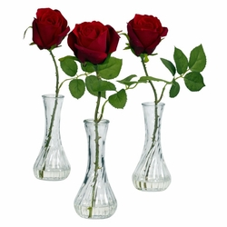 Rose w/Bud Vase (Set of 3)
