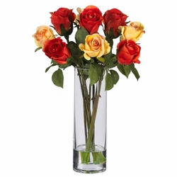 Roses w/Glass Vase Silk Flower Arrangement
