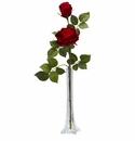 Roses w/Tall Bud Vase Silk Flower Arrangement