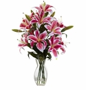Rubrum Lily Arrangement in Glass Vase