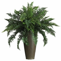 Ruffle Fern w/Decorative Vase Silk Plant (Indoor/Outdoor)