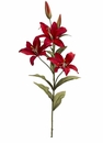 "Set of 12 - 36"" Artificial Silk Lily Spray w/3 Flowers & 2 Buds (shown in Flame Brick)"