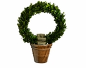 "Set of 2 - 13"" Preserved Boxwood Wreath Topiaries in Ceramic Pot"
