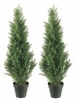 Set of 2 - 3' Cedar Artificial Topiary Trees - Indoor / Outdoor
