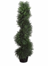 Set of 2 - 3' Spiral Cedar Artificial Topiaries