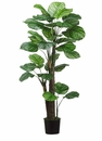 Set of 2 - 4' Artificial Peacock Tree in Black Plastic Pots