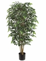 Set of 2 - 4' Nitida Silk Ficus Trees With 1624 Leaves
