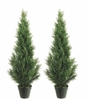 Set of 2 - 4' Artificial Cedar Topiary Trees Indoor / Outdoor