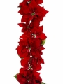 Set of  2 - 6' Artificial Deluxe Velvet Poinsettia Garland in Red