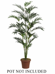 Set of 2 - Silk Palm Trees - 6' Bamboo Palm with 447 Leaves Non Potted