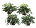 Set of 4 Styles Silk Greenery Assortment in Ceramic Pots