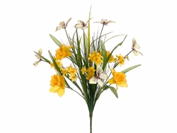 "Set of 6 - 21"" Silk Daffodil/Narcissus/ Butterfly/Grass Bush"