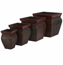 Square Planters w/Rim (Set of 4)