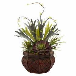 "20"" Artificial Succulent Garden with Decorative Planter"