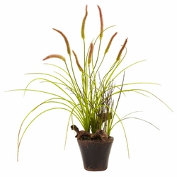 "23"" Swampy artificial Cattail Garden with Planter"