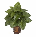 "17"" Taro with Vase Silk Plant"