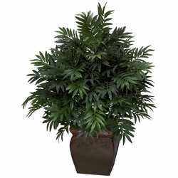 "43"" Triple Bamboo Palm with Decorative Planter Silk Plant"