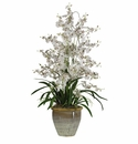 "32"" Triple Dancing Lady Silk Flower Arrangement - White"