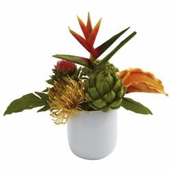 Tropical Floral Arrangement w/White Glass Vase