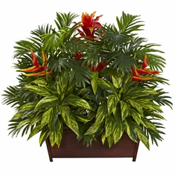"30"" Artificial Tropical Garden Plant with Wood Planter"