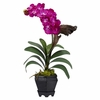 "24"" Vanda w/Black Hexagon Vase Silk Arrangement"