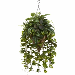 "36"" Artificial Vining Mixed Greens with Cone Hanging Basket"