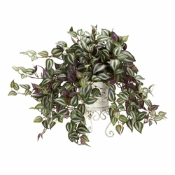Wandering Jew w/Metal Planter Silk Plant