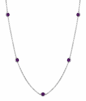 Amethysts by the Inch Necklace with 0.50 cttw Gemstones