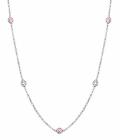 By the Inch Style Station Necklace with 0.50 cttw Diamonds and Pink Sapphires