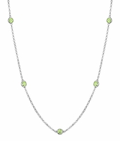 Peridots by the Inch Necklace with 0.50 cttw Gemstones