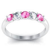 0.50 cttw Pink Sapphire and VS Diamond 5 Stone Ring