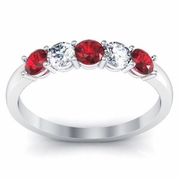 0.50 cttw Ruby and SI Diamond 5 Stone Ring