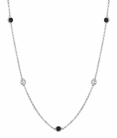 Station Necklace with Black and White Diamonds
